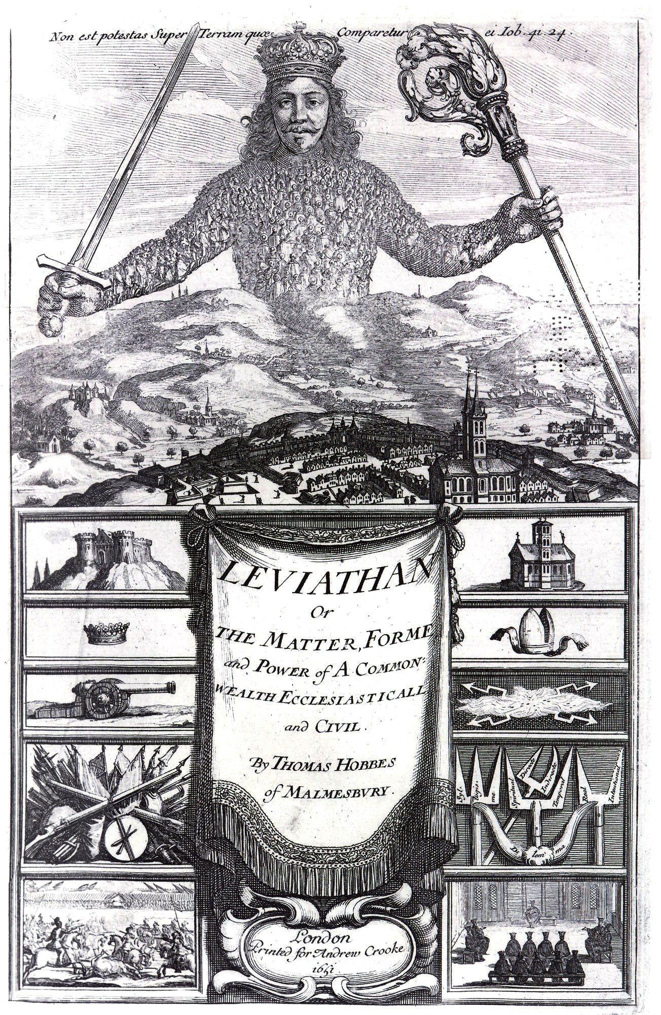 The cover of Leviathan by Thomas Hobbes, a pioneering writer in the philosophies of Absolutism and the Divine Right of Rulers