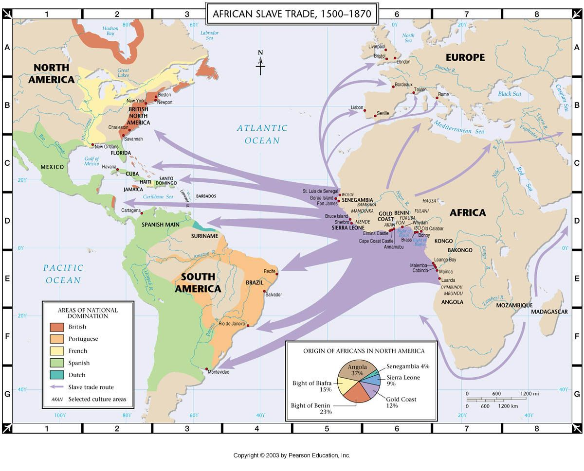 An image showing routes going from the western coast of Africa to various points on the east coast of the americas from South of Brazil to British North America between 1500 to 1870