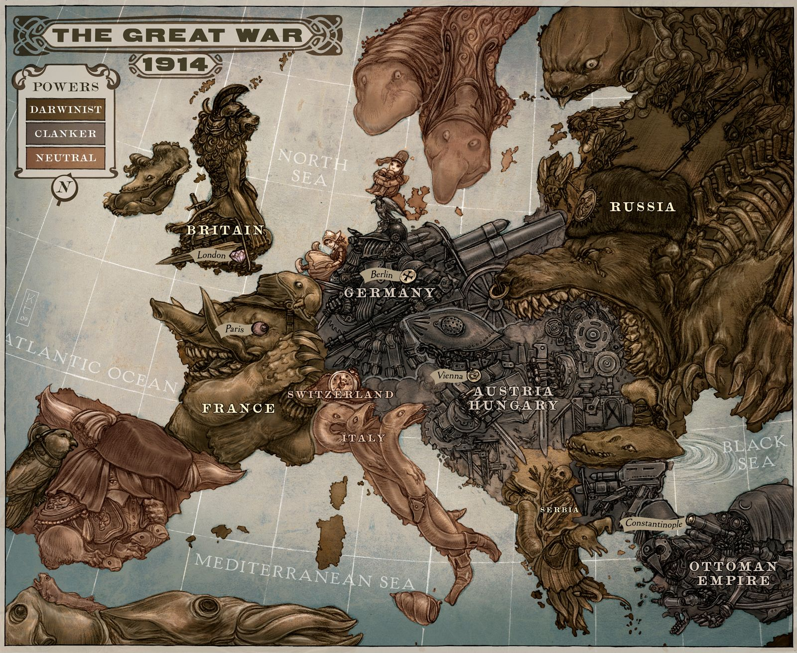 A steampunk themed map of Europe in 1914 showing the major participating countries
