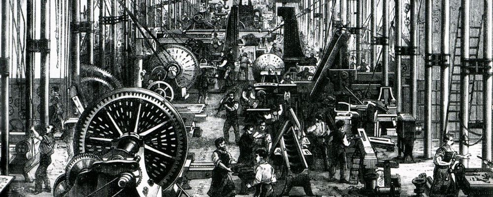 A charcoal sketch representing the industrial revolution. Gears turning, wheels spinning. Busy factory workers working and chatting