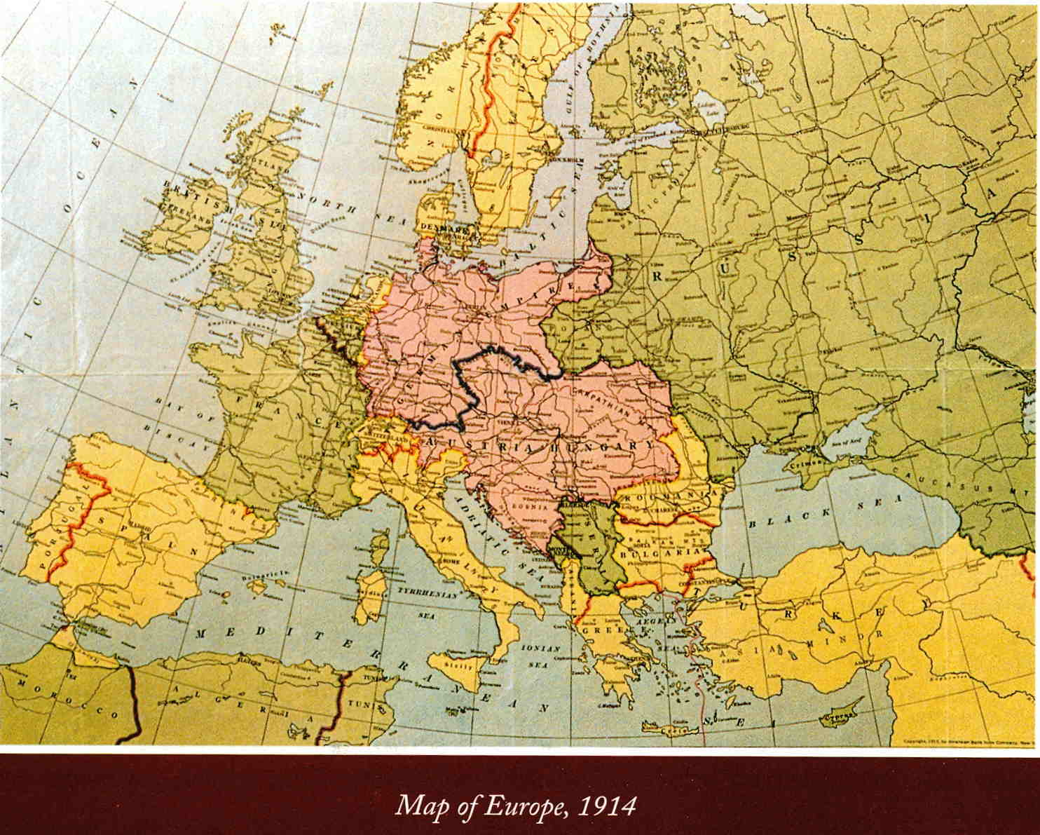 A map of Europe in 1914 before world war 1