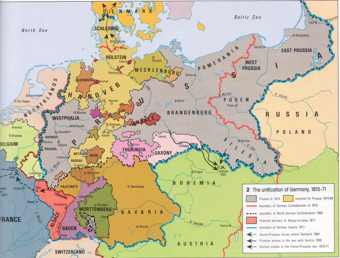 A map of pre-unified Germany with a dark blue outline showing what it will look like post-unification in 1871