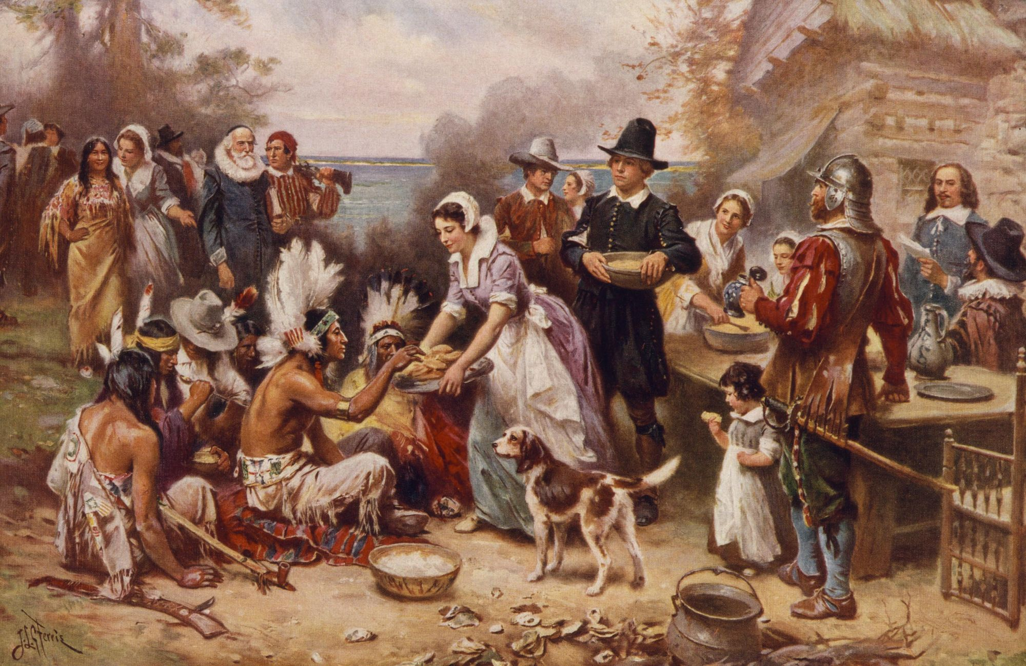 An image showing settlers and native Americans feasting together and mingling with food and drinks. A woman is serving food to the Indian chief and his henchmen