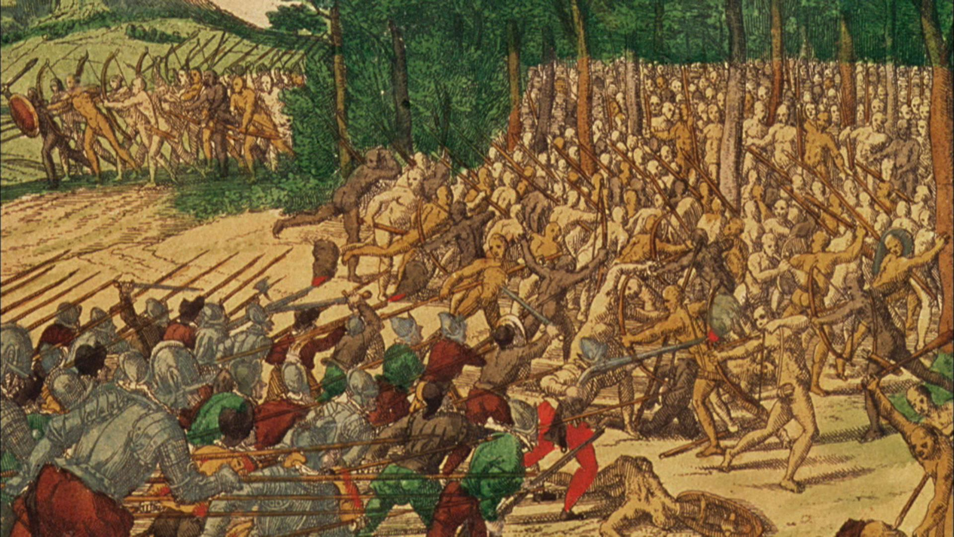 An image of a battle that occurred when the pueblo people got tired of oppression and drove Spanish settlers away in the new world
