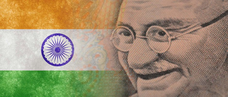 An image showing the Indian flag on the left with Gandhi's face on the right