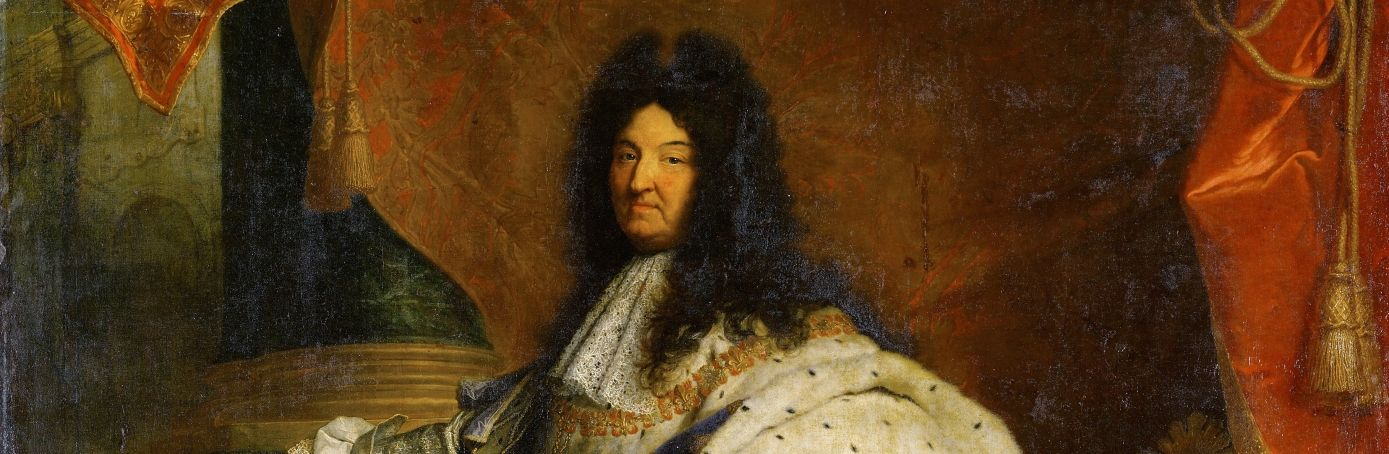 A painting of French king Louis XIV and his poofy hair