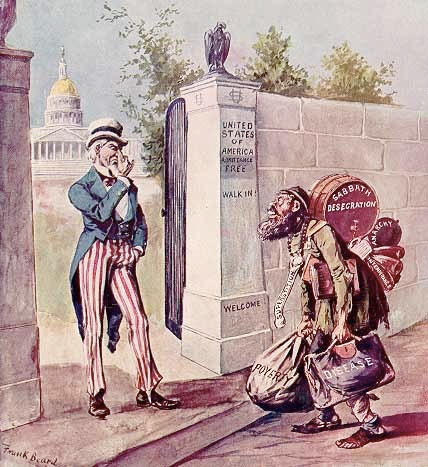 An image of a political cartoon showing Uncle Sam looking down on an immigrant trying to enter a gate