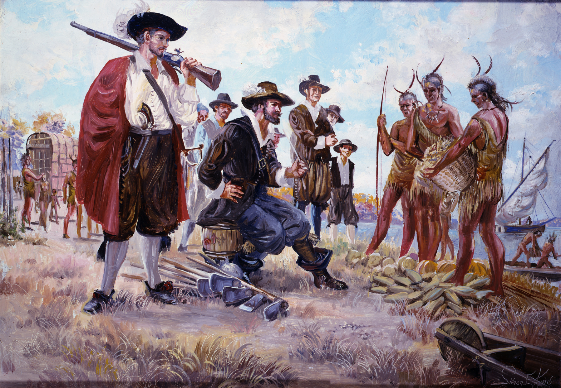 An image showing settlers and native Americans trading at Jamestown
