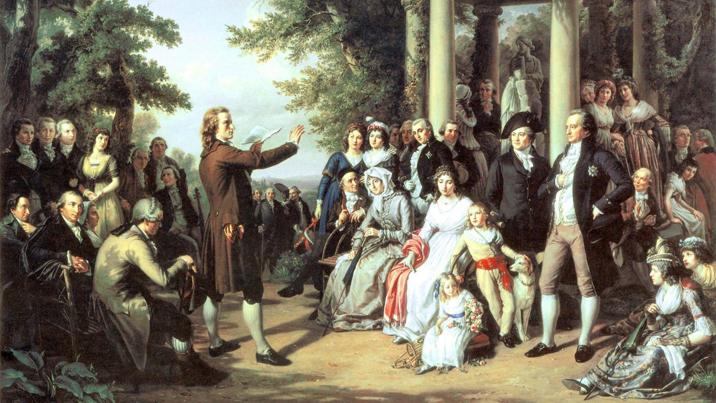 A picture of people gathered around a poet doing live reading from the enlightenment age